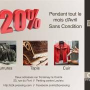 20% de remise sur Cuir et Tapis