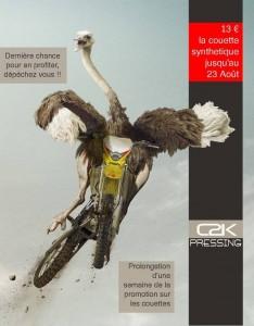 Pour les retardataires, C2K Pressing prolonge la promotion sur les couettes d'une semaine. 13€ le nettoyage d'une couette synthétique jusqu'au 23 Août.